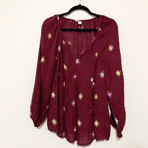 Old Navy Maroon Flowy Boho Peasant Blouse Size XL